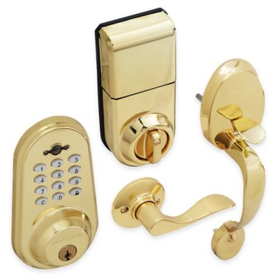 Honeywell Digital Door Handleset Lock with Remote in Polished Brass