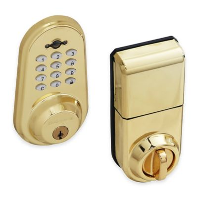 Honeywell 8.75-Inch Digital Door Lock and Deadbolt with Remote in Polished Brass