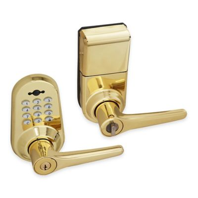 Honeywell 10-Inch Digital Door Entry Lever Lock with Remote in Polished Brass