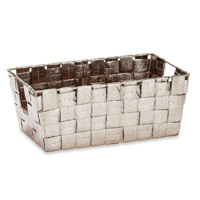 Accessory Woven Storage Tote in Metallic Gold
