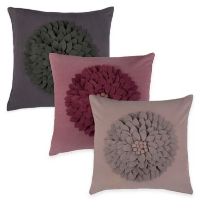 Rizzy Home Flower Applique Pattern Square Throw Pillow in Dark Grey