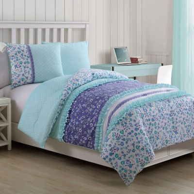 Cameron 3-Piece Reversible Full Comforter Set in Blue