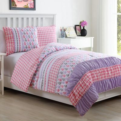 Lily 2-Piece Reversible Twin Comforter Set in Pink