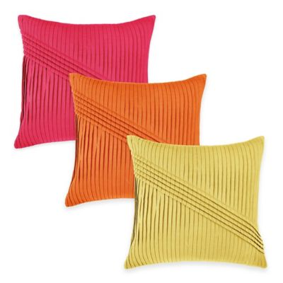 Rizzy Home Pleated Pattern Square Throw Pillow in Hot Pink