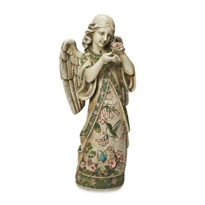 19-Inch Angel with Hummingbird Dress Garden Ornament in Beige/Multi