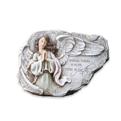 12-Inch Praying Angel Plaque Garden Ornament in Stone