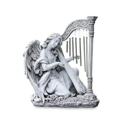 15-Inch Kneeling Angel with Harp Chimes Garden Ornament in White