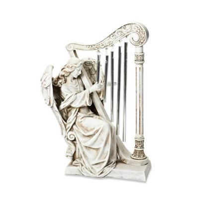 10-Inch Angel with Harp Chimes Garden Ornament in White