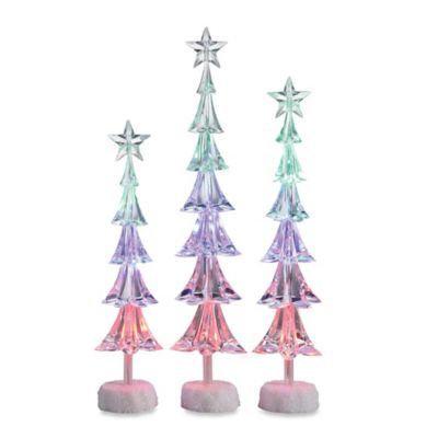 3-Piece LED Lighted Christmas Tree Figures with Stars