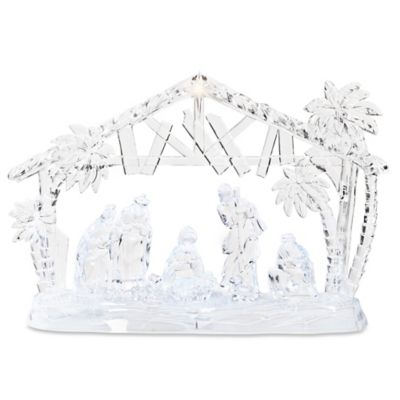 15-Inch LED Lighted Nativity with Palm Trees and Stable