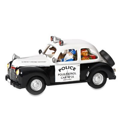 11.75-Inch LED Lighted Santa Driven Police Car with Dog Musical Figurine
