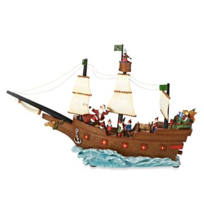 19-Inch LED Lighted Santa and his Elves Pirate Ship Musical Figurine