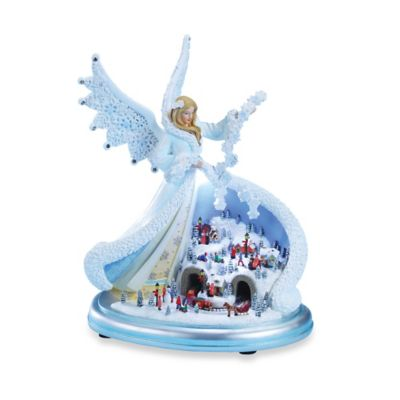 11-Inch LED Lighted Snow Angel with Town Scene Musical Figurine