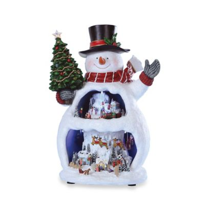 13-Inch Musical LED Snowman with Snow Scene