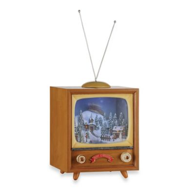 9.75-Inch Musical TV with Santa Over the Town