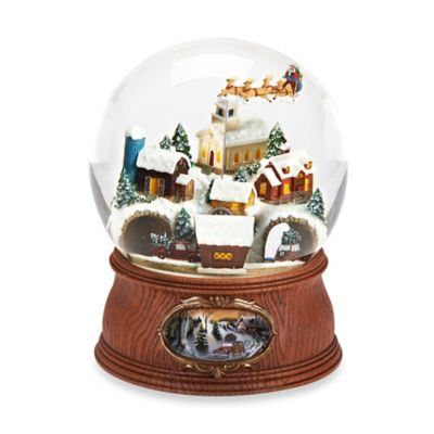 7.75-Inch Musical Santa with Sleigh and Village with Cars Glitterdome®