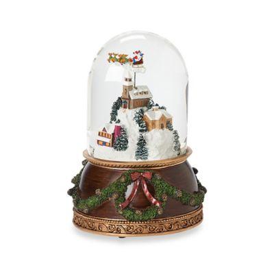 7.5-Inch Rotating Santa Above Town Scene Musical Snow Globe