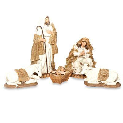 12-Inch 5-Piece Glitter-Burlap-Trimmed Nativity Set
