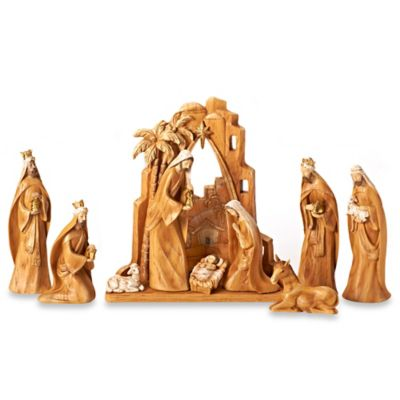 12-Inch 9-Piece Carved-Look Nativity Set with Backdrop