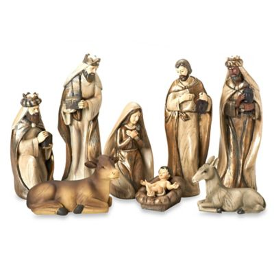 12-Inch 8-Piece Painted Nativity Set in Ivory/Gold