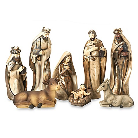12 inch 8 piece painted nativity set in ivory gold www