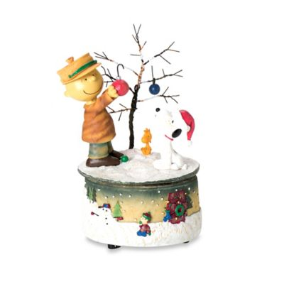 8-Inch Charlie Brown and Snoopy Decorating the Christmas Tree Musical Figurine