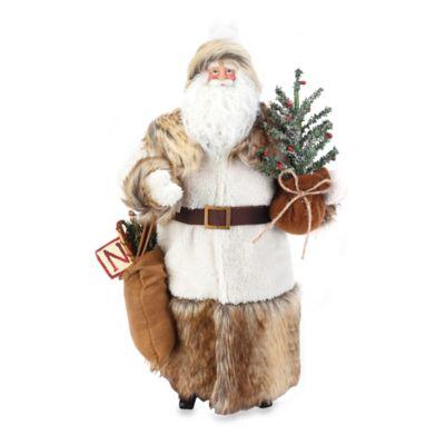18-Inch Santa in Fur Figurine