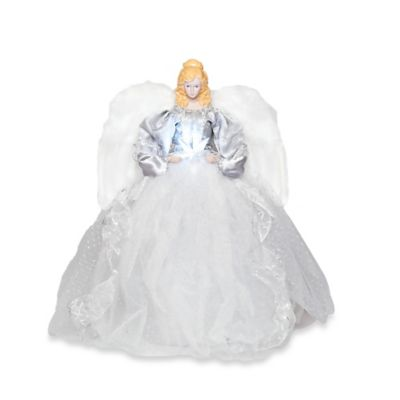 16-Inch LED Star Angel Christmas Tree Topper in Silver/White