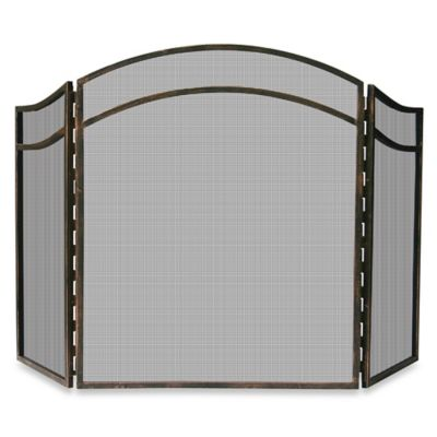 UniFlame® 3-Fold Antique Rust Fireplace Screen