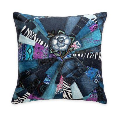 Desigual® Denim Folk Patchwork Square Throw Pillow