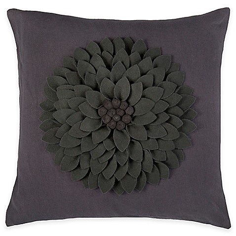 Square Throw Pillow Pattern : Rizzy Home Flower Applique Pattern Square Throw Pillow - www.BedBathandBeyond.com