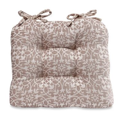 Sam Hedaya Garden Trelis Chair Pad in Tan