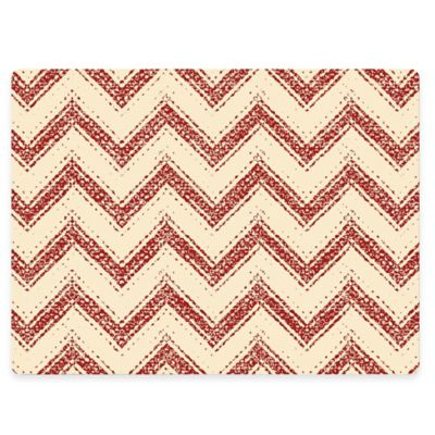 Design House LA Chevron Striped Cork Back Placemats in Red (Set of 2)