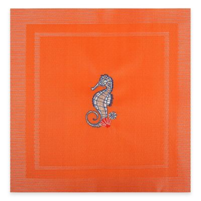 Square Sea Horse Placemat in Orange