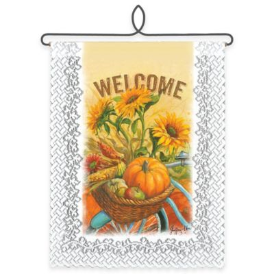 "Heritage Lace® ""Welcome"" Sunflower Wall Hanging in White"