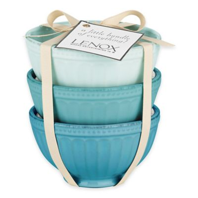 Lenox® French Perle™ Groove Mini Everything Bowls in Blue (Set of 3)