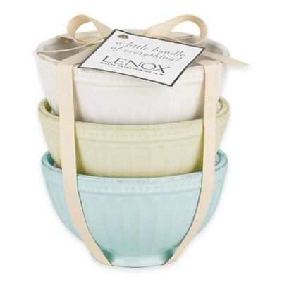 Lenox® French Perle Groove Mini Everything Bowls in White/Pistachio/Ice Blue (Set of 3)