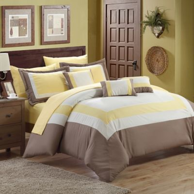 Chic Home Duke 10-Piece King Comforter Set in Yellow