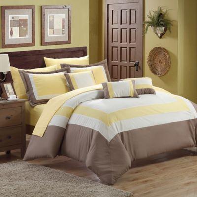 Chic Home Duke 10-Piece Queen Comforter Set in Yellow
