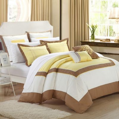 Chic Home Ballroom 7-Piece Queen Comforter Set in Yellow