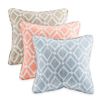 Madison Park Delray Diamond Square Throw Pillow (Set of 2)