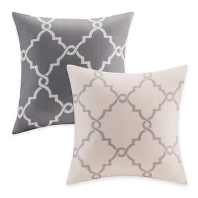 Madison Park Saratoga Fretwork Square Throw Pillow in Beige