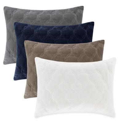 Madison Park Cotton Velvet Ogee Quilted Reversible Oblong Throw Pillow in Indigo