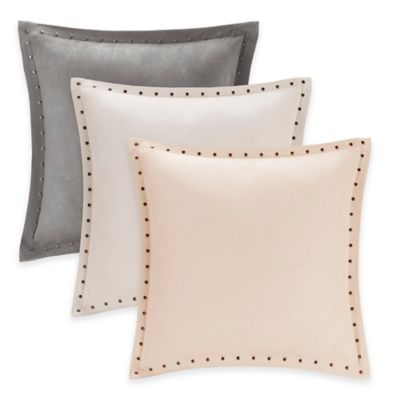 Madison Park Alban Stud Trim Microsuede Square Throw Pillow in Tan