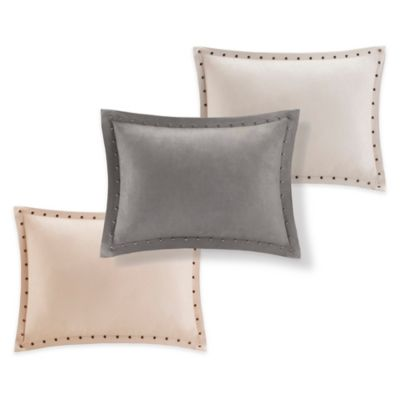 Madison Park Alban Stud Trim Microsuede Oblong Throw Pillow in Tan