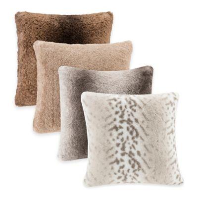 Madison Park Signature Serengeti Faux-Fur Square Throw Pillow in Brown