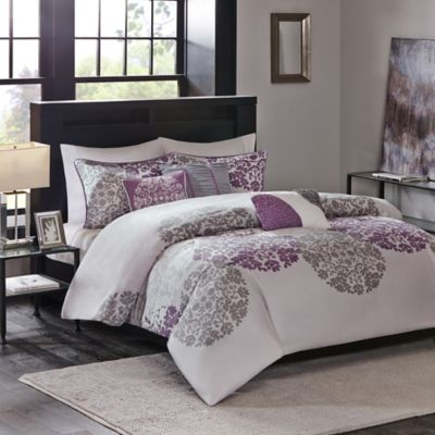 Madison Park Sydney 6-Piece Full/Queen Duvet Cover Set in Purple