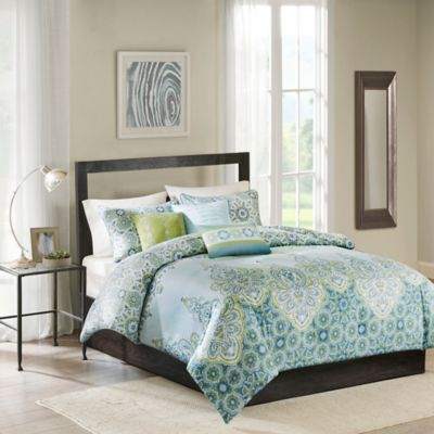 Madison Park Sarita 6-Piece Full/Queen Duvet Cover Set in Blue