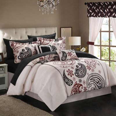 Chic Home Olivia Paisley 13-Piece Reversible Queen Comforter Set in Beige