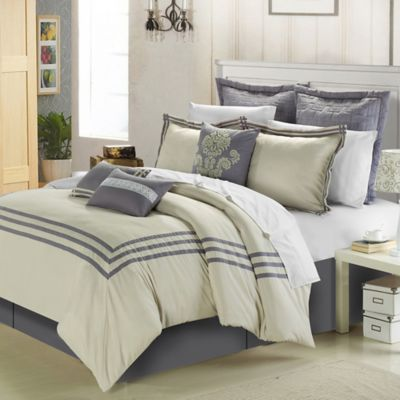 Chic Home Cosmo 8-Piece Queen Comforter Set in Beige